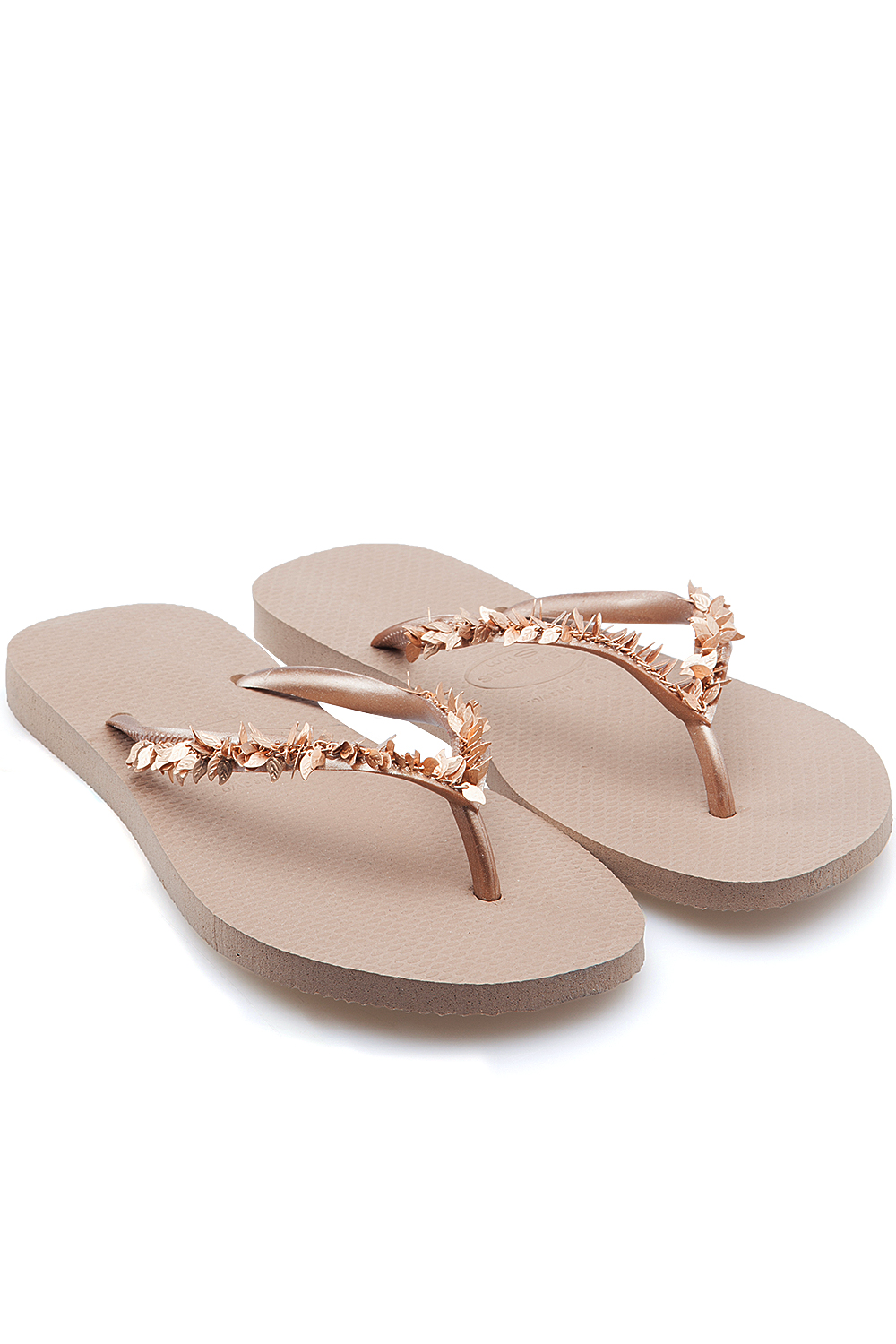a62b445a72b877 Havaianas Slim Leaves Flip Flops Rose Gold