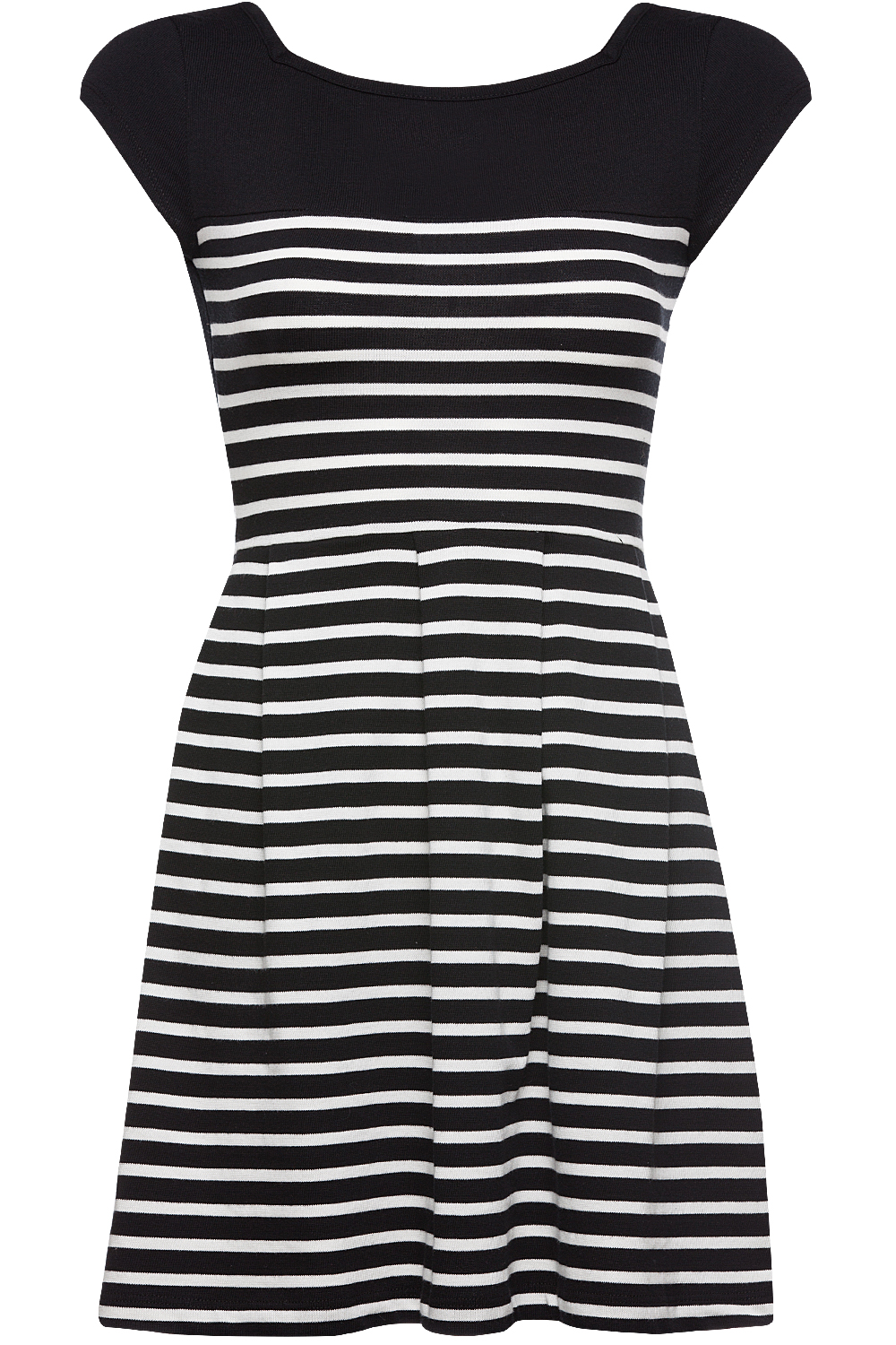 French Connection County Cotton Striped Dress Siyah Beyaz