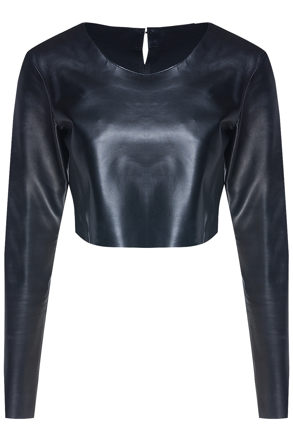 Jibe Oh Long Sleeve Leather Crop Top Black 365ist