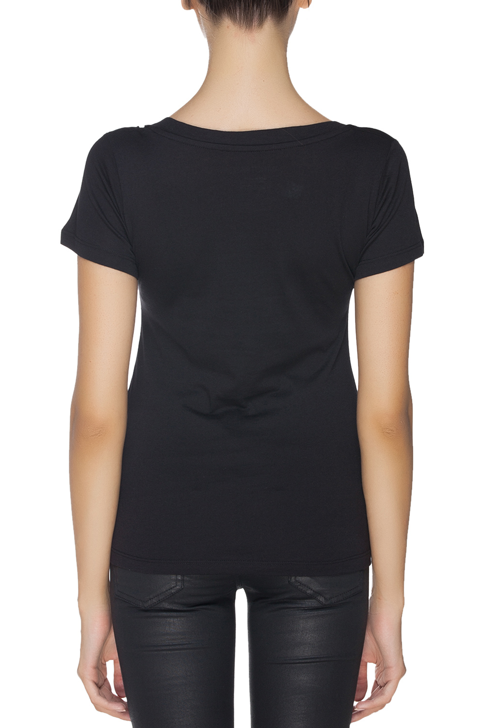 Iamnotbasic black deep v neck t shirt black 365ist V neck black t shirt