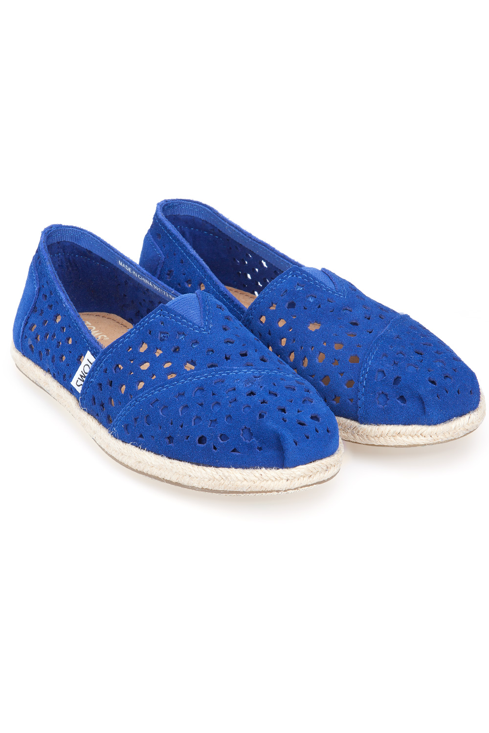 Toms Blue Moroccan Cutout Womens Slip On Blue 365ist