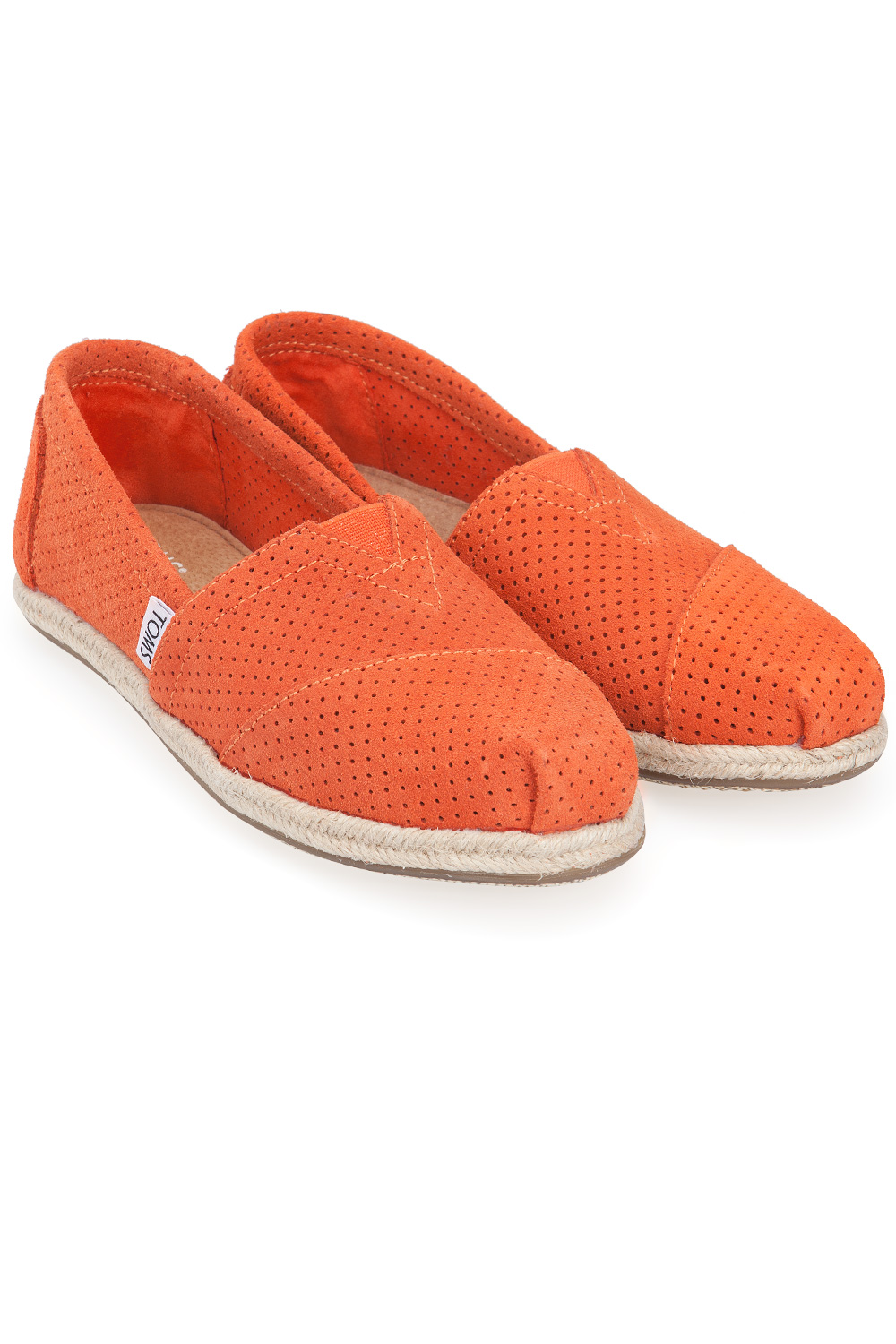 Toms Deep Orange Perforated Womens Slip On Orange 365ist