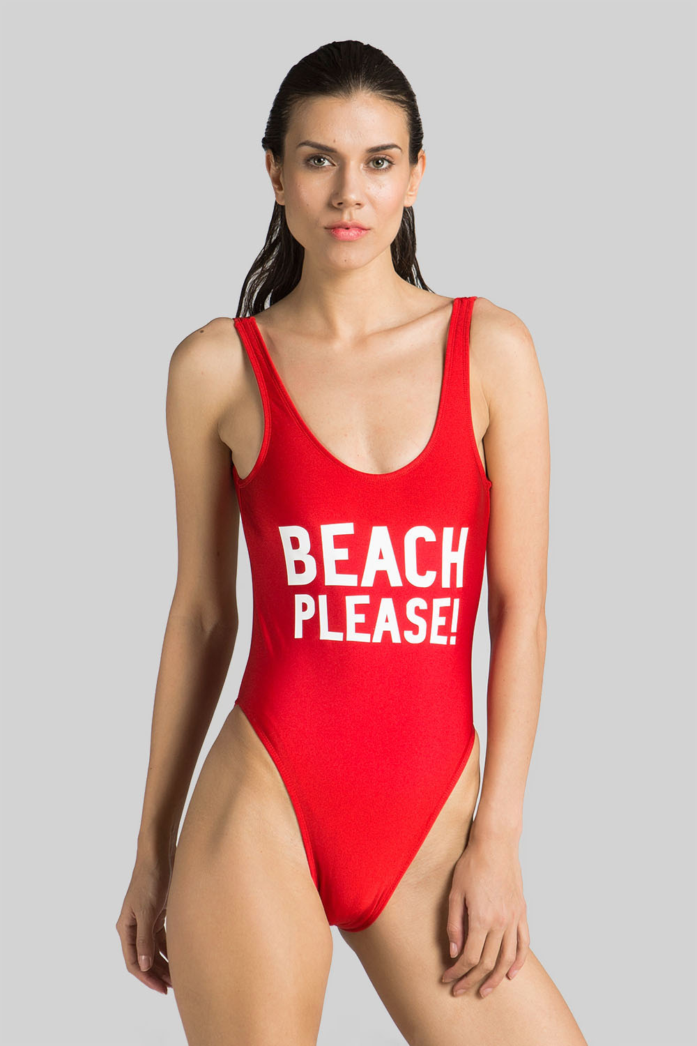 13b04ca929 Simple For You Beach Please Slogan Swimsuit Red | 365ist