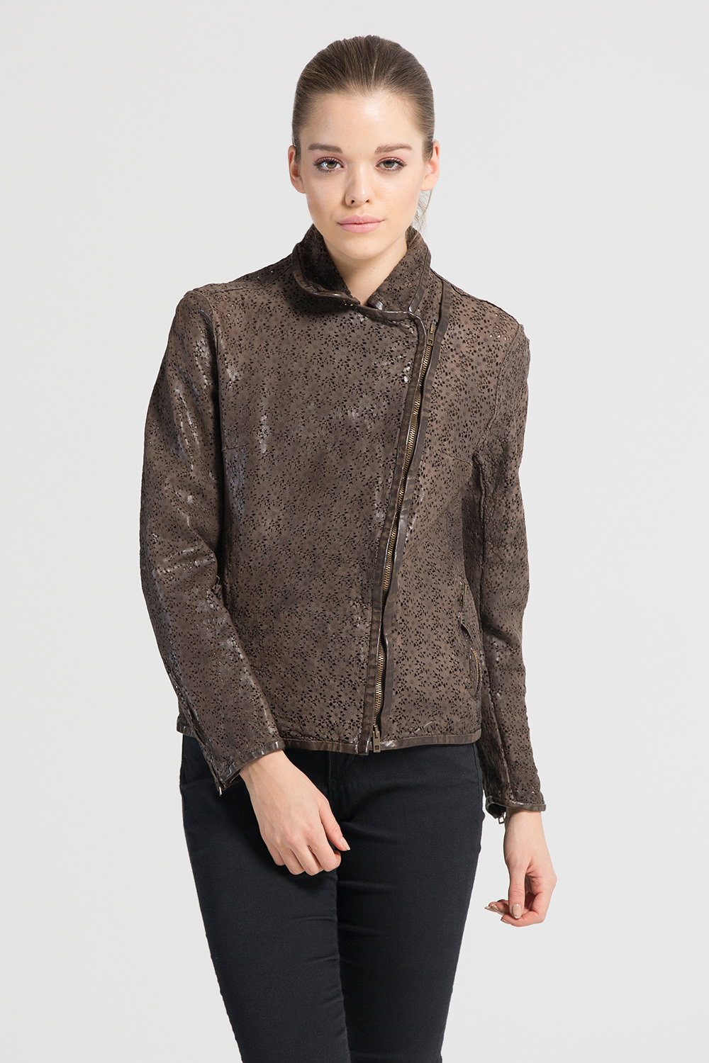 Salvatore Santoro Laser Cut Leather Jacket Brown