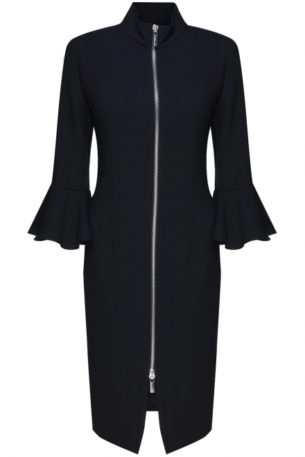 selma-cilek-flared-sleeve-zipper-detail-dress-black