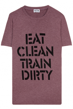 gym-rat-eat-clean-train-dirty-yuvarlak-yaka-tisort-bordo