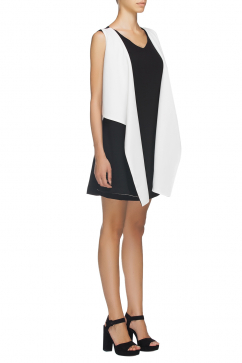 ipek-arnas-vest-detail-black-and-white-dress-siyah-beyaz