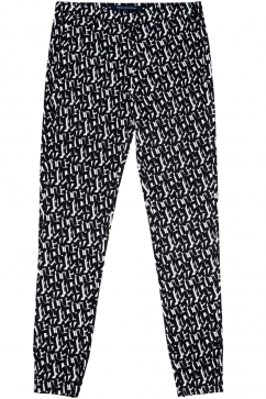 french-connection-printed-pants-black