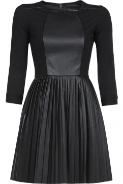french-connection-solar-pleated-dress-black