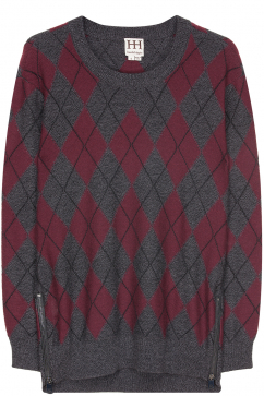 haute-hippie-argyle-long-sleeve-sweater-koyu-gri-bordo
