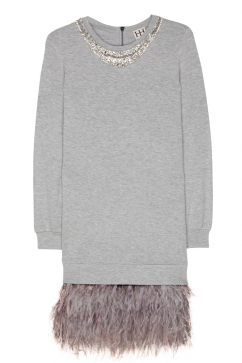 haute-hippie-feather-and-stone-sweatshirt-dress-acik-gri