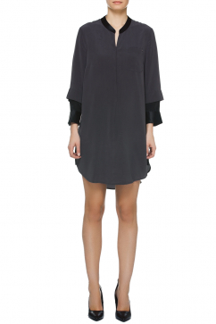 halston-heritage-3-4-slv-shirt-dress-grey