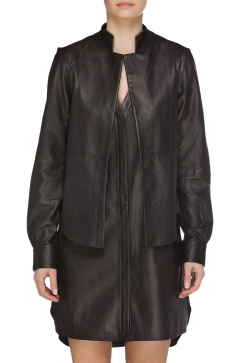 halston-heritage-ls-leather-shirt-brown