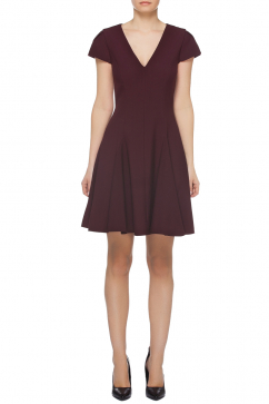 halston-heritage-ss-v-neck-short-sleeve-fit-flare-dress-burgundy