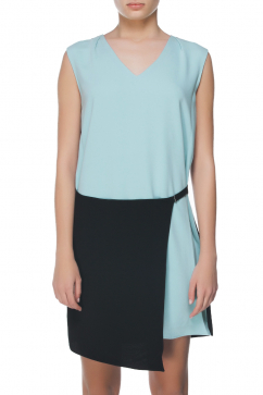 tibi-color-block-woven-dress-mavi-siyah
