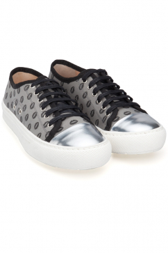 markus-lupfer-grey-canvas-silver-lips-sneaker-grey