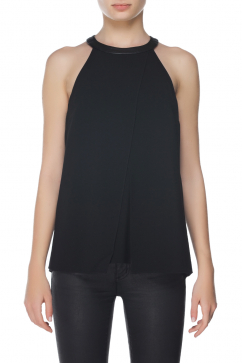 tibi-draped-leather-top-black