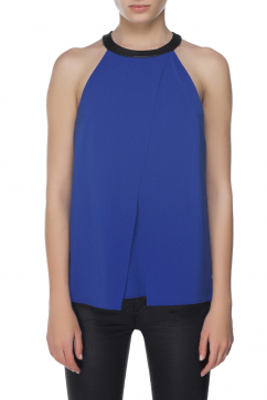 tibi-samu-woven-draped-leather-top-blue
