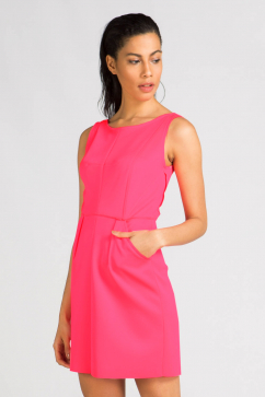 milly-seamed-detail-shift-dress-neon-pembe